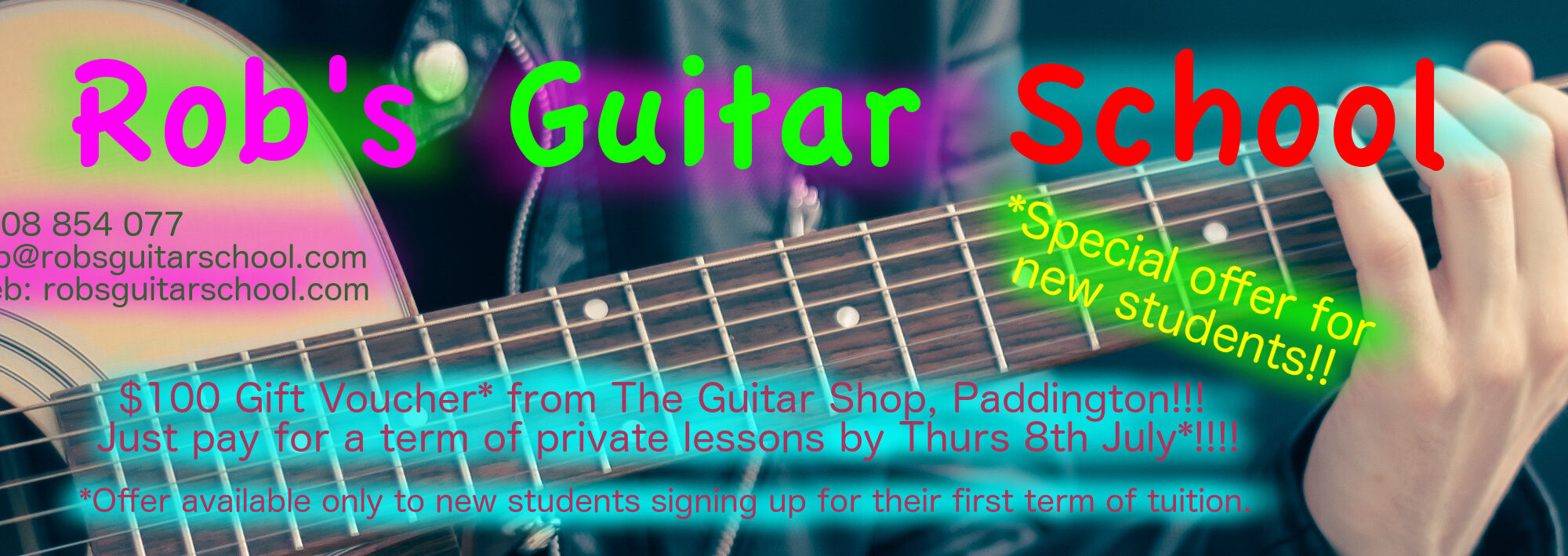 Rob's Guitar school special offer for new students
